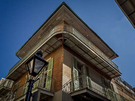 New Orleans, LA, USA -  Sep. 12, 2016  -  Building in French Quarter with Street Lamp in  New Orleans