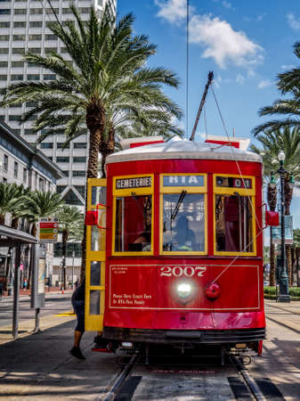New Orleans, LA, USA -  Sep. 12, 2016  -  This is one of the New Orleans RTA Street Car.  This Street Car goes to the Cemeteeries.