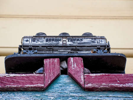 Spring TX USA - July 112, 2017  -  Railroad Tanker Car Model with Spring Texas Written on it Editorial