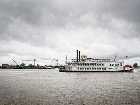 New Orleans, LA USA - June 1, 2017  -  Creole Queen River Boat in New Orleans Editorial