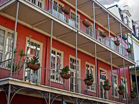 New Orleans, LA USA - May 9, 2018  -  French Quarter Balcony with Plants 8