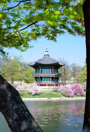 Un vecchio padiglione coreano a Kyoungbok Palace a Seoul, Corea. Archivio Fotografico - 3136170