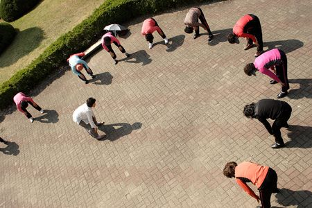 Exercise group in a KOrean park. Stock Photo