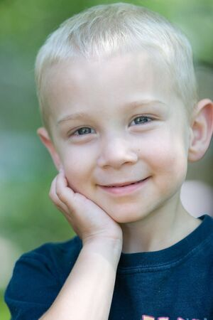 blonde boy: A little blonde boy. Stock Photo