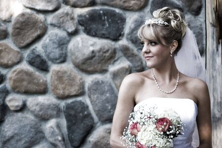 bw: A cross processed image between color and B&W of a bride. Stock Photo