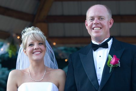 The newlyweds show their happiness. photo