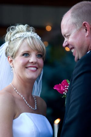 A humorous moment during the wedding ceremony. photo