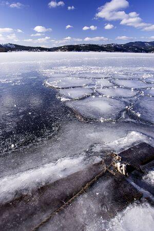 A frozen lake under a blue sky.