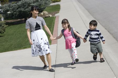 stroll: A family out for a nice stroll. Stock Photo
