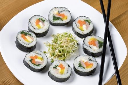 A plate of healthy Korean sushi called kimbap.