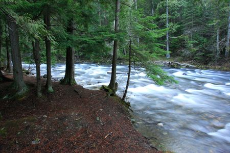 rushes: A clear river rushes around a gentle bend near Metaline Falls, Washington. Stock Photo