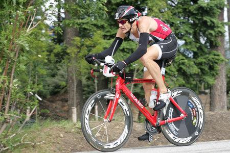 Pro triathlete James Bonney of Austin, TX on the bike portion of the Ironman Triathlon in Coeur d'Alene, Idaho. 06/21/2009 Editorial