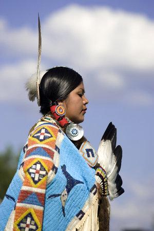 A side view of a native American teenager at the Julyamsh Powwow in Post Falls, Idaho. 07/25/2009 Editöryel