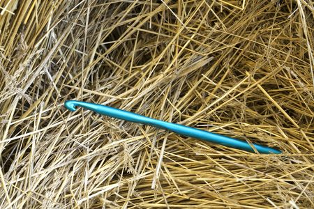 A conceptual image of a large crocheting needle in a haystack.
