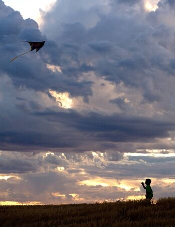 A young boy is successful at flying a kite up high. photo