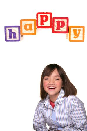 xyz: Young girl against white background smiling bic under the word happy.