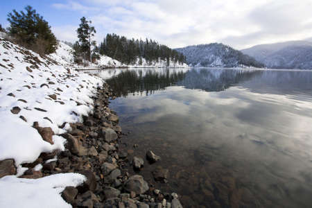 A winter scenic at Higgens Point on Lake Coeur dAlene in norther Idaho. photo