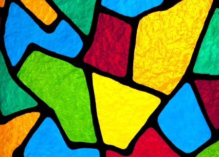 Multi colored stained glass inside a church that is backlit by the sun light. Stock Photo