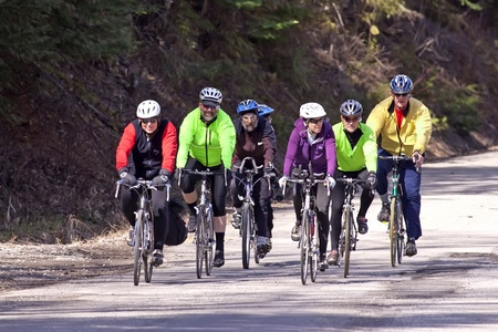 04/12/2011-Hauser Lake, Idaho. A group of bicyclists out for a ride on an early spring day in Hauser Lake, Idaho. Editorial