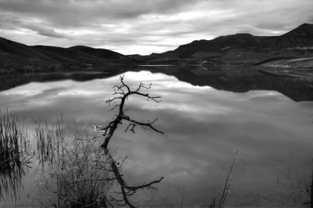 with reflection: A fine art black & white image of the reservoir at Painted Hills in Oregon.