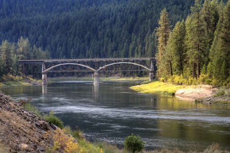 flathead: Bridge over Flathead river.  Stock Photo