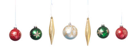 pano: Panorama of Christmas ornaments. Stock Photo