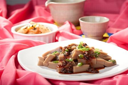 Korean dish of acorn type jello. Stok Fotoğraf