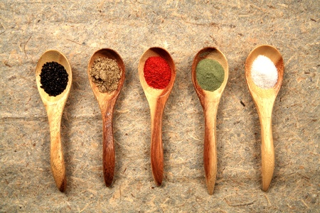 Assorted dried spices.