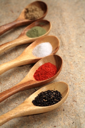 Displaying dried spices.  photo