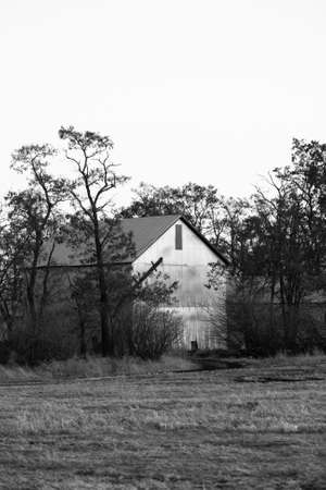 barn black and white: A black and white image of an old barn by a field. Stock Photo