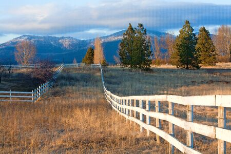 Fence in a field. Stock Photo - 12436718