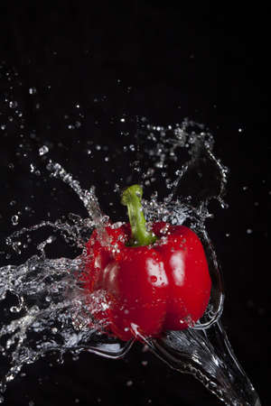 Red pepper splashed by water  Imagens