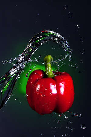 Water splashed on a pepper