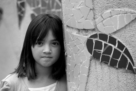 B W portrait of a girl