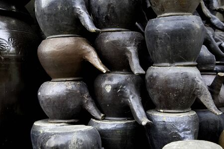 Stacks of old traditional soy sauce pots used in Korea