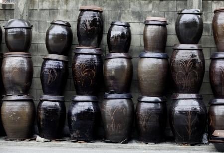 Stacks of Kimchi jars