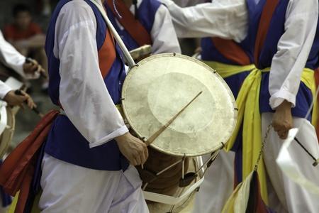 folk village: A traditional Korean drummer keeps the beat at the Korean Folk Village in Yongin, Korea