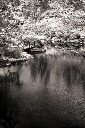b w: B W of small pond   Stock Photo