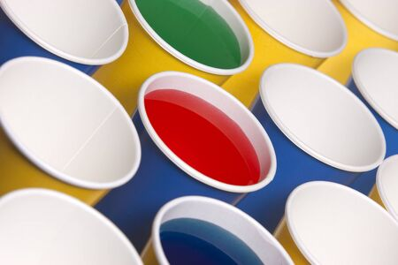 angled view: Angled view of paper cups