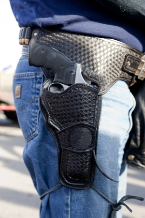 county side: A holster .44 revolver at a pro 2nd amendment rally in North Idaho.