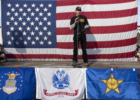 Coeur dAlene, Idaho - January 19, 2013. Oathkeepers member John Mackey is the emcee during the pro 2nd amendment rally in Coeur dAlene, Idaho to peacefully protest the gun control legislation.