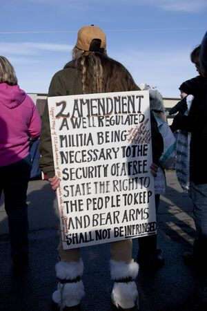 amendment: Coeur dAlene, Idaho - January 19, 2013. A pro American sign is held up during the pro 2nd amendment rally in Coeur dAlene, Idaho to peacefully protest the gun control legislation. Editorial