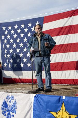amendment: Coeur d'Alene, Idaho - 19 de enero de 2013. Idaho Barbieri Representante estatal Vito habla a la multitud durante la manifestaci�n pro segunda enmienda en Coeur d'Alene, Idaho para protestar pac�ficamente la legislaci�n de control de armas.