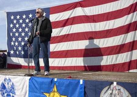 Coeur dAlene, Idaho - January 19, 2013. Idaho state Representative Ron Mendive speaks to the crowd during the pro 2nd amendment rally in Coeur dAlene, Idaho to peacefully protest the gun control legislation.