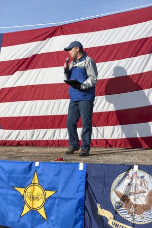 amendment: Coeur d'Alene, Idaho - 19 de enero de 2013. Idaho senador estatal Steve Vick habla a la multitud durante la manifestaci?ro segunda enmienda en Coeur d'Alene, Idaho para protestar pac?camente la legislaci?e control de armas.