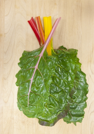 chard: Stacked rainbow chard leaves