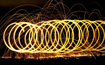 Spiraling long exposure fire  photo