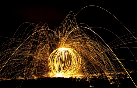 colorful light display: Designs of fire and long exposure   Stock Photo