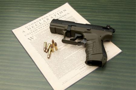 declaration: Pistol and Declaration  Stock Photo