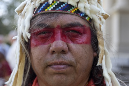 feast: Native American at the feast of assumption at Cataldo, Idaho on August 15, 2013  Editorial